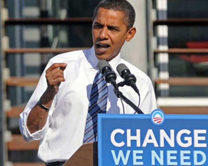 Barak Obama campaigning for change